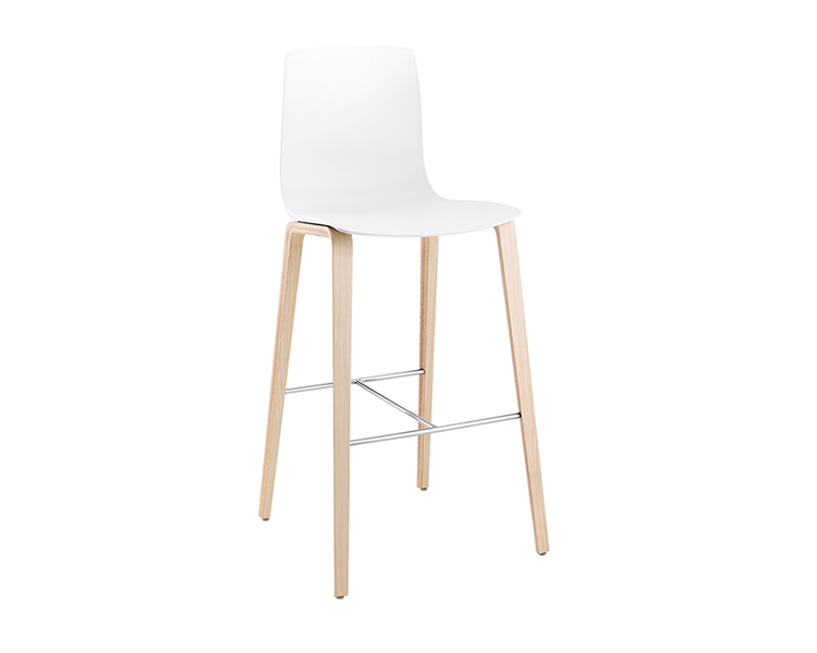Aava — Bar stool 4 wood legs - Aava Arper  2